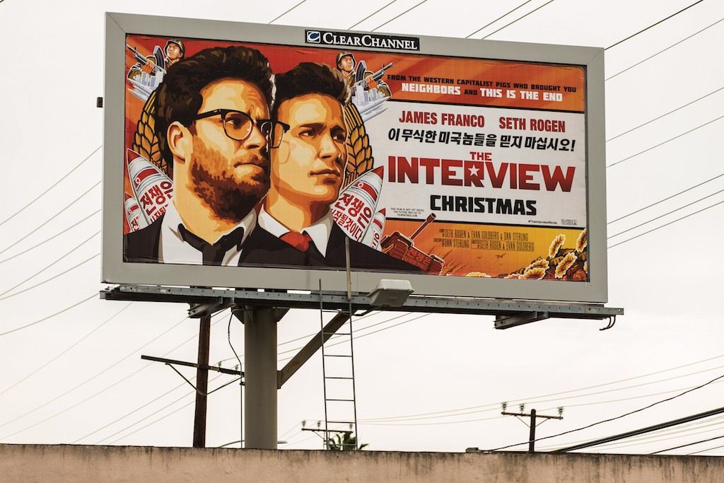 A billboard for the film 'The Interview' is displayed December 19, 2014 in Venice, California. Sony has canceled the release of the film after a hacking scandal that exposed sensitive internal Sony communications, and threatened to attack theaters showing the movie. (Photo by Christopher Polk/Getty Images)