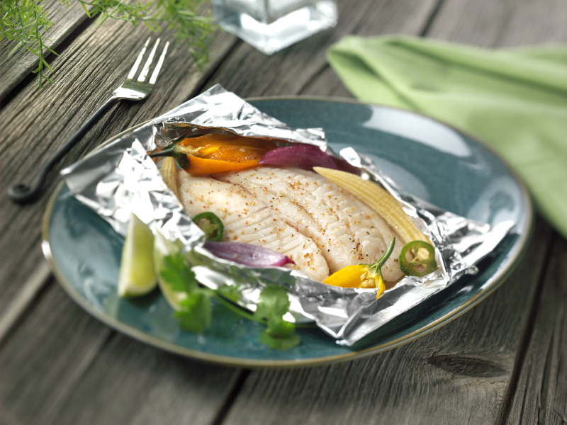 fish in foil pouch