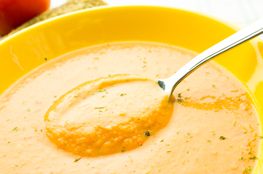 Tomato soup, gazpacho, yellow pea soup