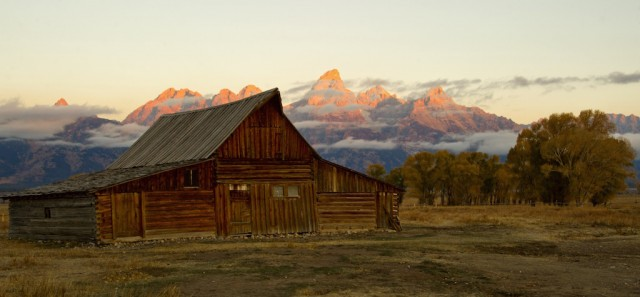 The sun hits the tips of the Grand Tetons October 5, 2012 in the Grand Teton National Park in Wyoming