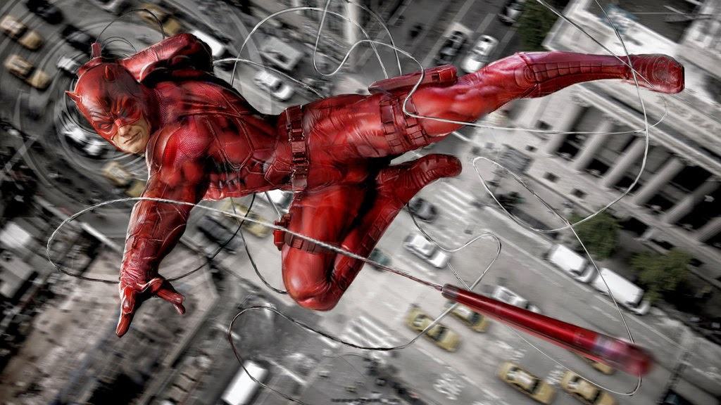 Daredevil throwing his baton while flying through the air