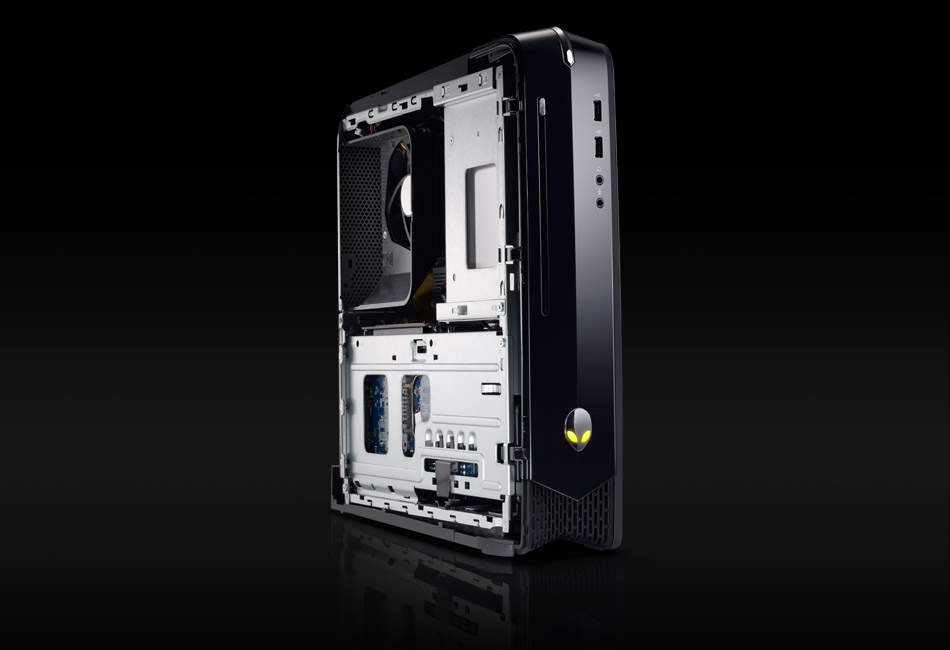 A stylish gaming PC tower on a black background