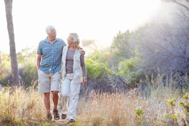senior couple taking a walk