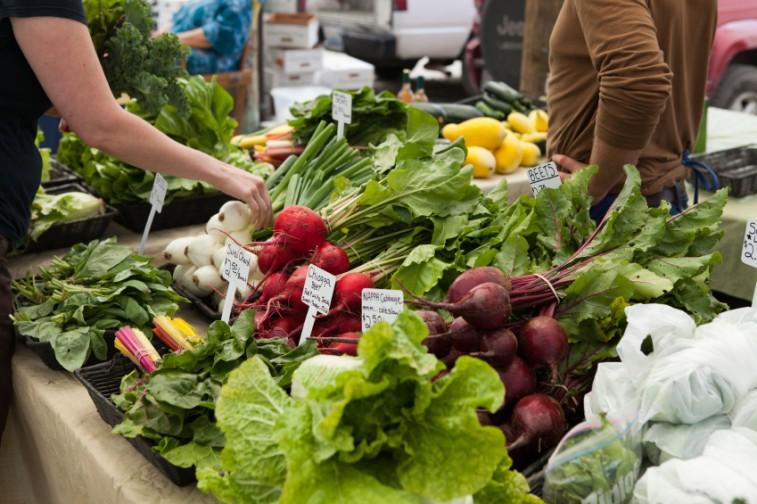 Fresh veggies at a farmer's market