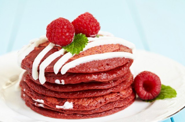 It doesn't get much more delicious than red velvet pancakes