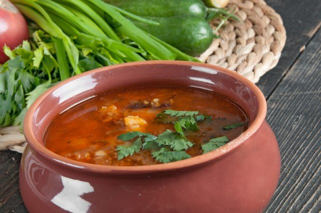 bean and tomato soup with fresh herbs