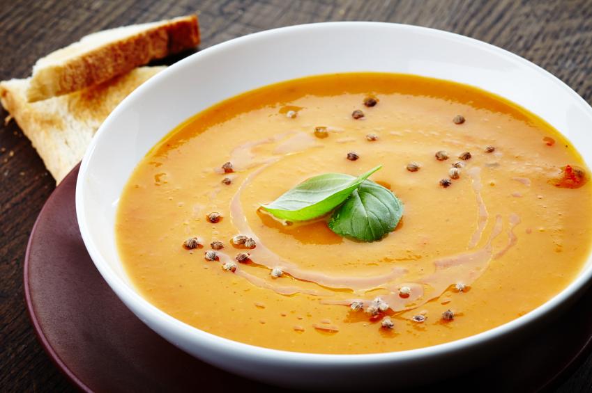 squash soup, stew, basil leaf