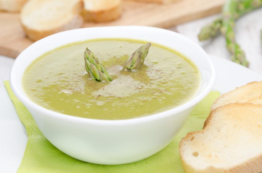 cream soup, asparagus, green peas