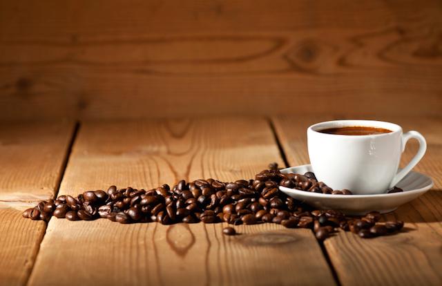 Coffee beans, mug