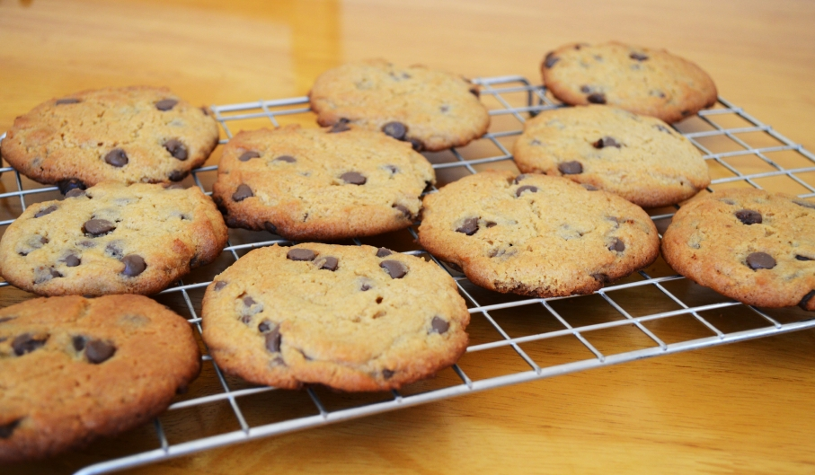 Chocolate chip cookies on a rack