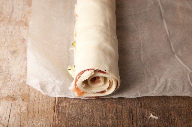 rolled puff pastry, ham, prosciutto, cheese