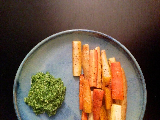 Roasted Carrots, Pesto