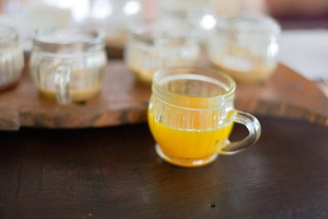 Turmeric tea, orange drink