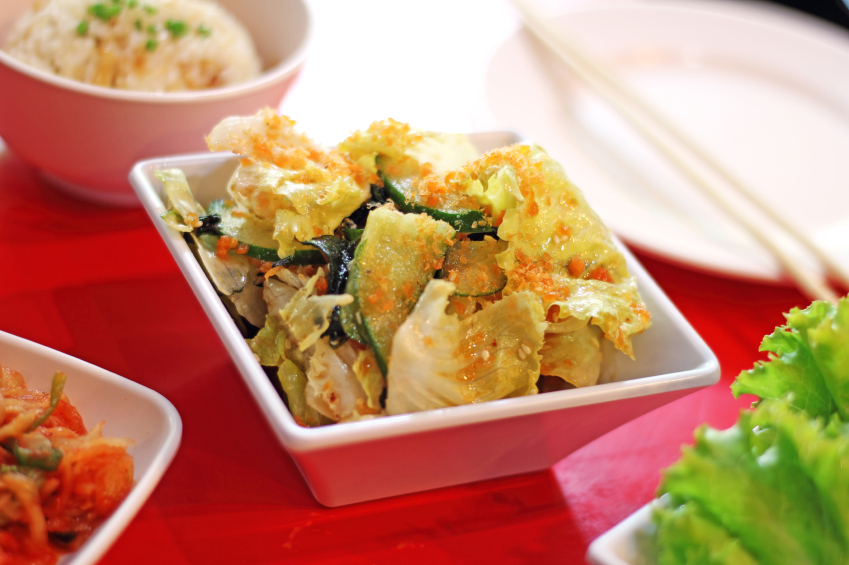 spicy Korean Kimchi cabbage in ceramic dish