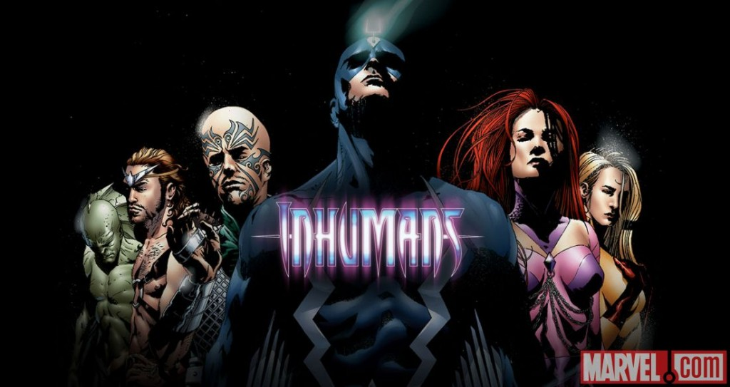 An illustration of Marvel's Inhumans characters standing against a black background