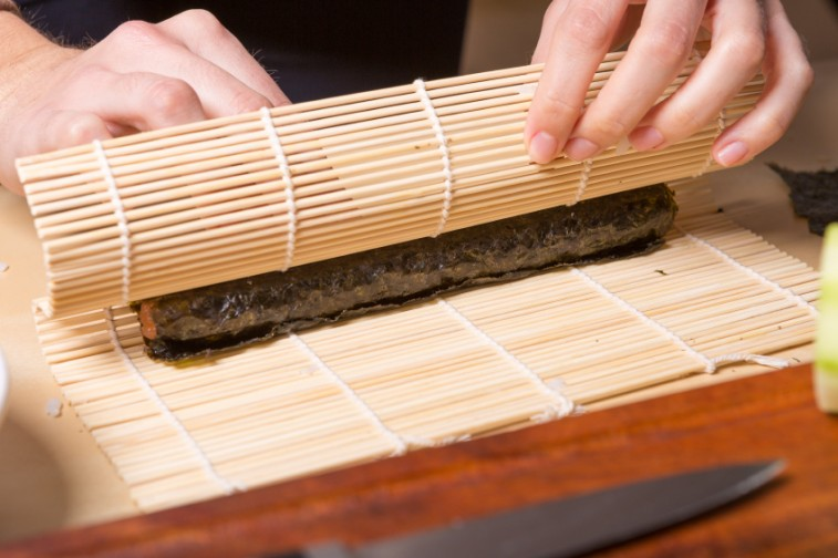 rolling sushi at home, japanese food