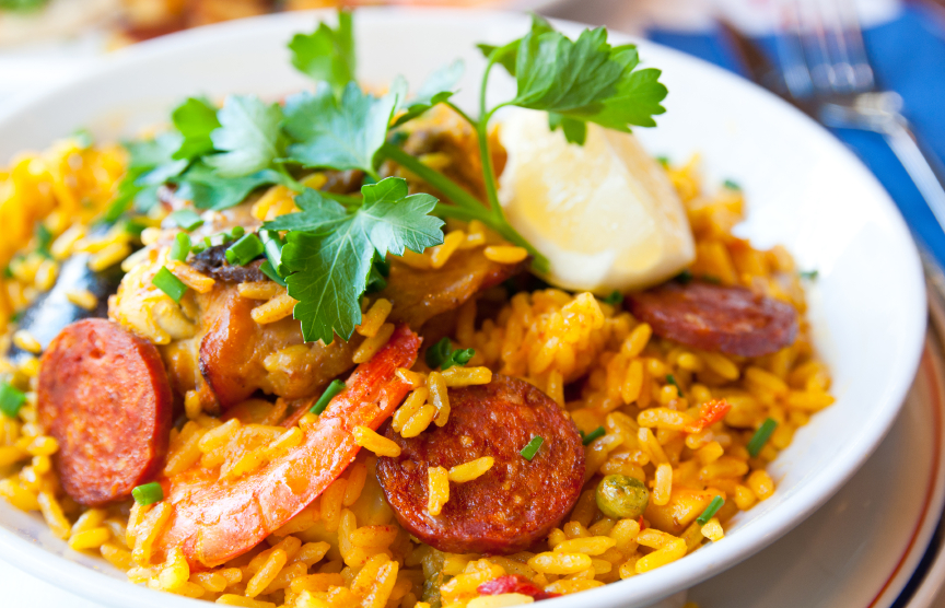 prawn, shrimp, sausage, and chorizo seafood with rice