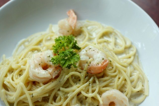 Shrimp tossed with pasta and fresh herbs