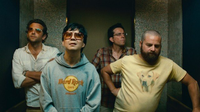 The cast of The Hangover Part II stands in an elevator