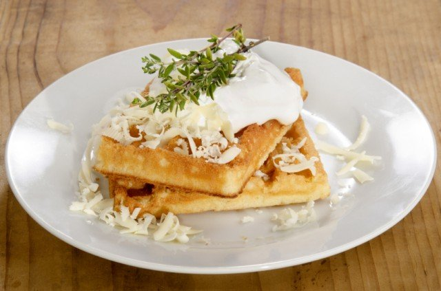 waffles with cheese and sour cream
