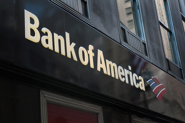 A sign hangs above a Bank of America branch in the Financial District