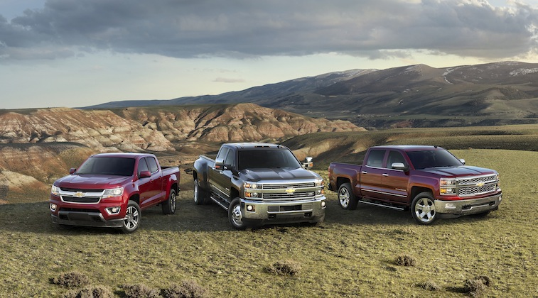 (L to R) The all-new 2015 Chevrolet Colorado, 2015 Chevrolet Sil