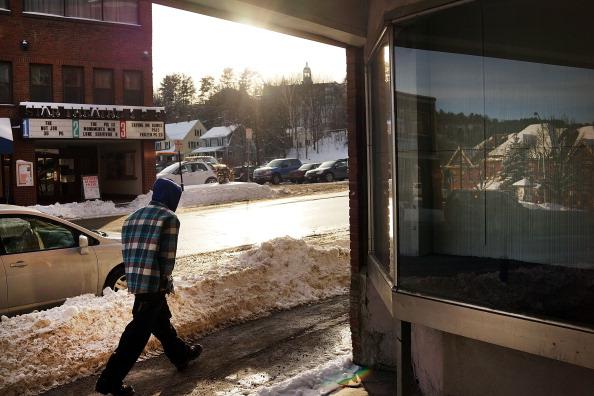 snowy street in Vermont