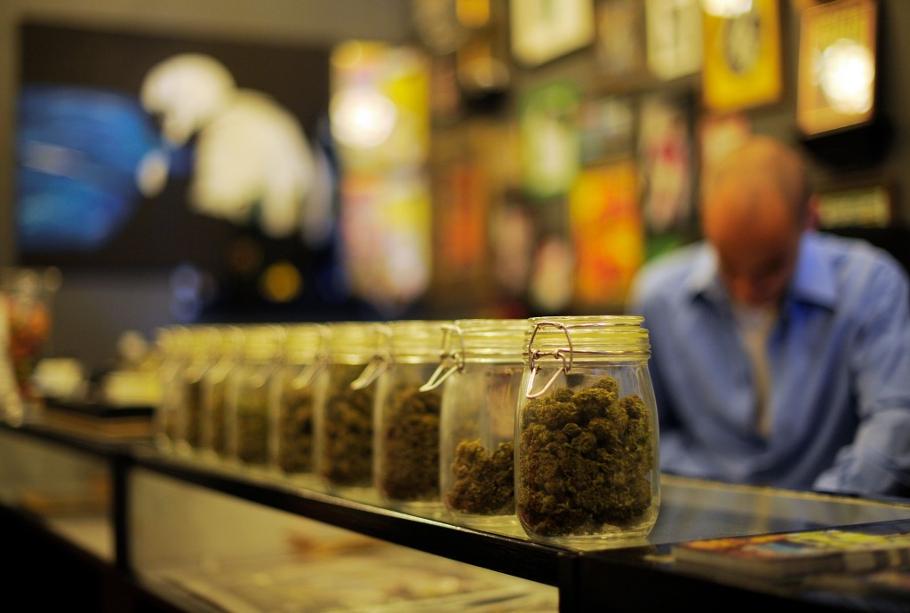Jars of cannabis in a shop
