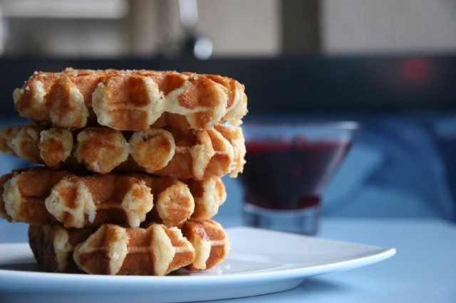 waffles stacked on a plate