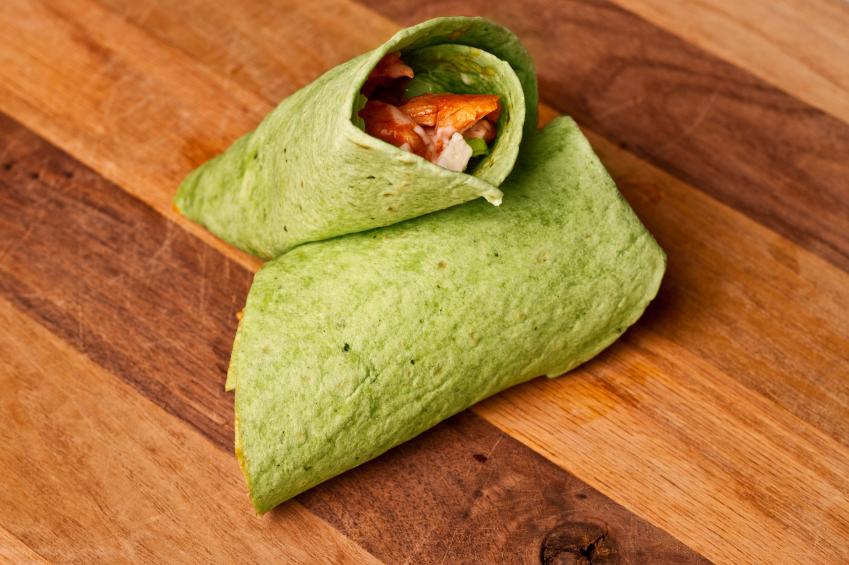 Buffalo Chicken Wrap, spinach tortilla