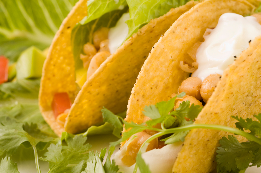 Close up of chickpea Vegetarian Tacos