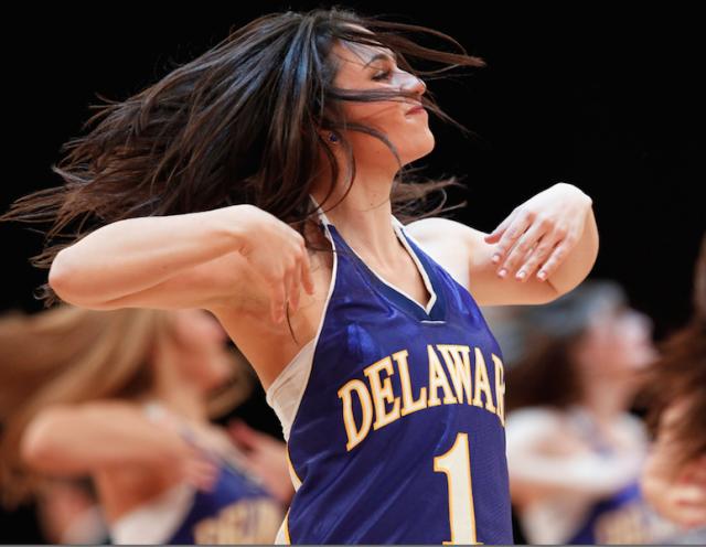 A Delaware cheerleader dancing