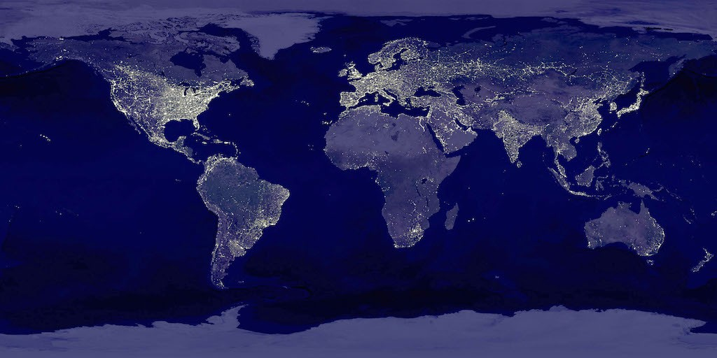 This image of Earth's city lights was created with data from the Defense Meteorological Satellite Program (DMSP) Operational Linescan System (OLS). Originally designed to view clouds by moonlight, the OLS is also used to map the locations of permanent lights on the Earth's surface. (Photo by NASA/Newsmakers)