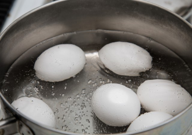 Eggs Boiling in Saucepan