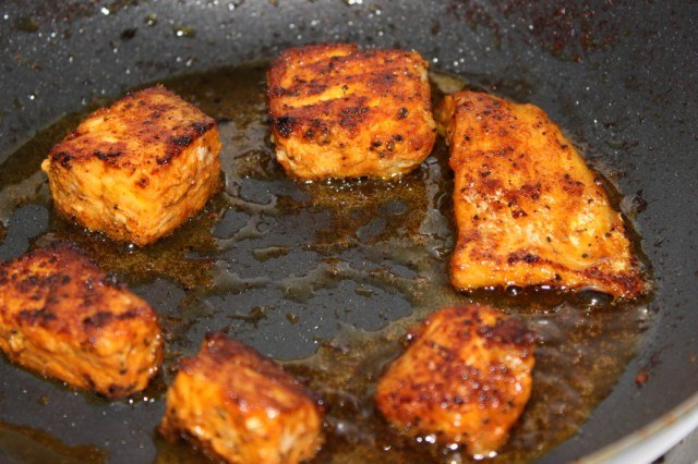 Cooking, frying Salmon