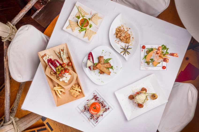 Different types of tapas on a dinner table