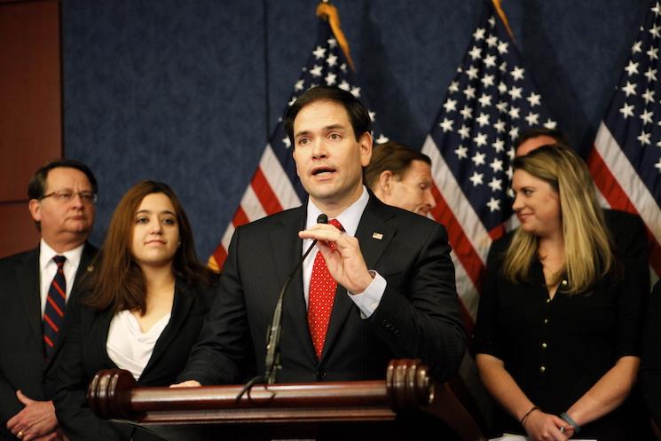 Marco Rubio speaks to the press