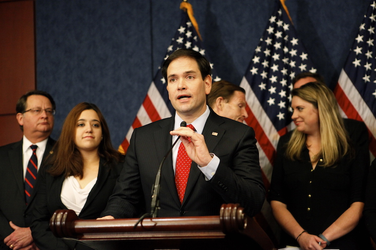 Marco Rubio speaks to the press