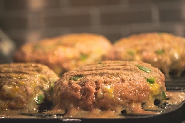 Cheddar burgers on the grill