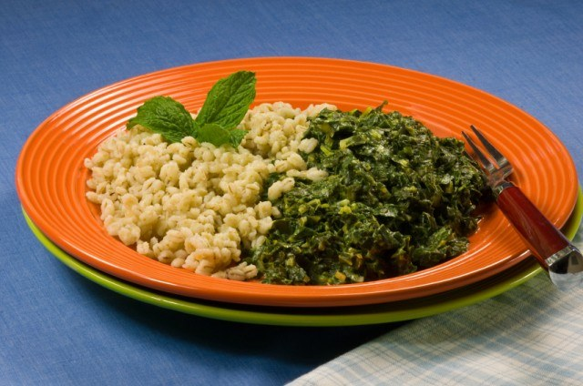 Barley and Collard Greens, cooked greens