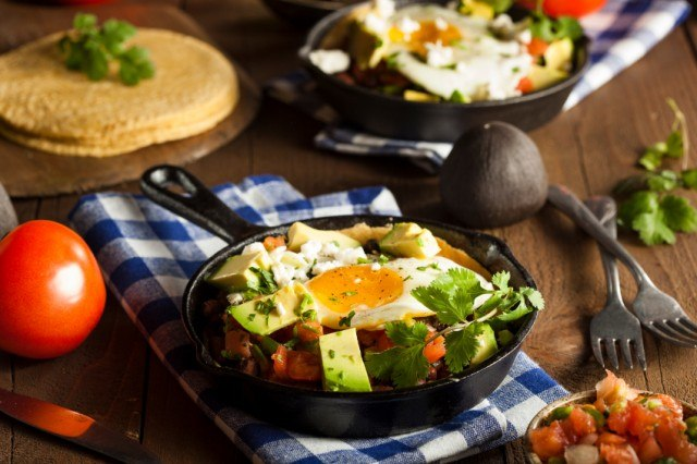 hash with avocado and egg