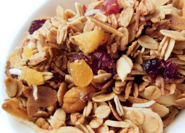 Homemade granola, oats, dried fruit, almonds