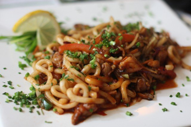 Japanese noodles udon, chicken meat