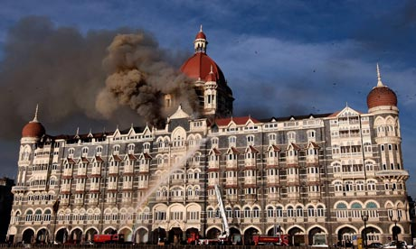 Indian firefighters attempt to put out the fire at the Taj Mahal Hotel in Mumbai after terrorist attacks in November 2008. Photograph: Indranil Mukherjee/AFP/Getty Images
