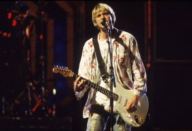 Kurt Cobain of Nirvana singing