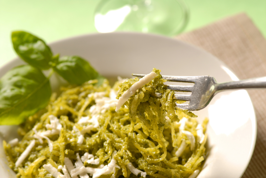 Cilantro-pepita pesto with squash ribbons and fettucine