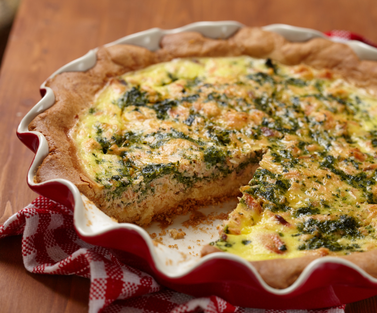 Spinach and Salmon Quiche, frittata