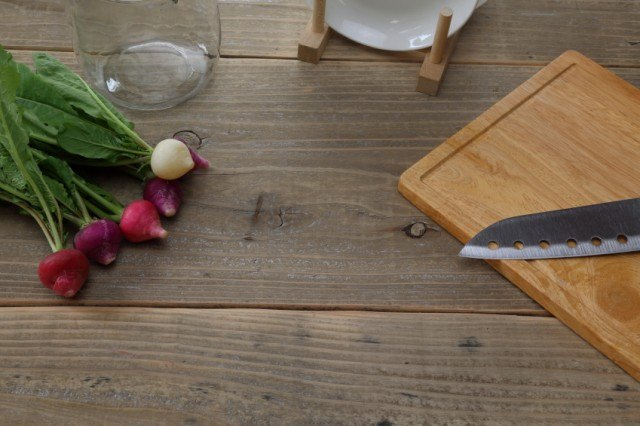 radishes and cutting board, slicing