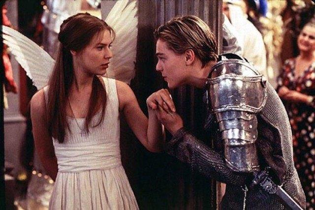 Leonardo DiCaprio kisses Claire Danes' hand in Romeo + Juliet