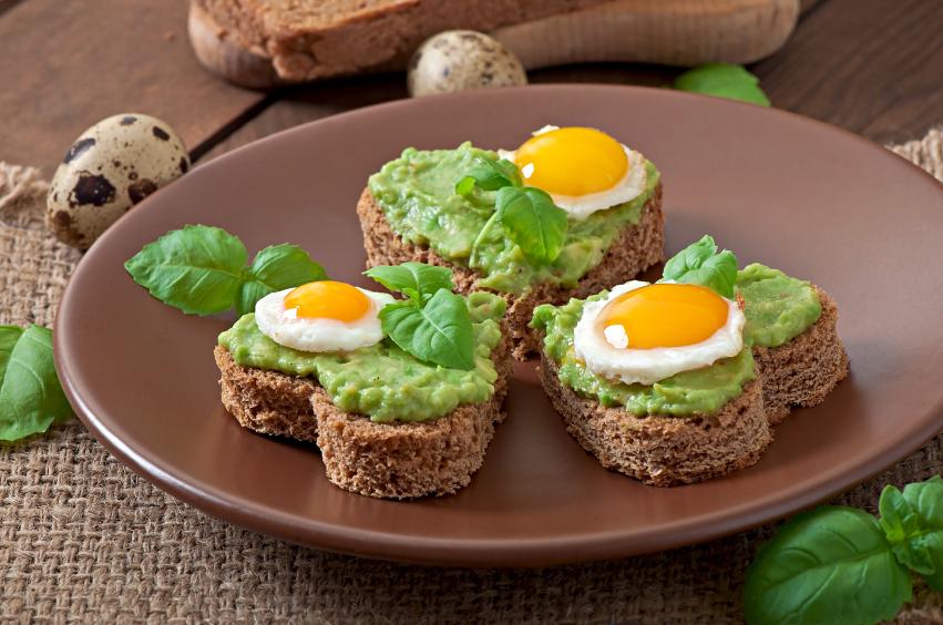 Avocado, bread, fried egg